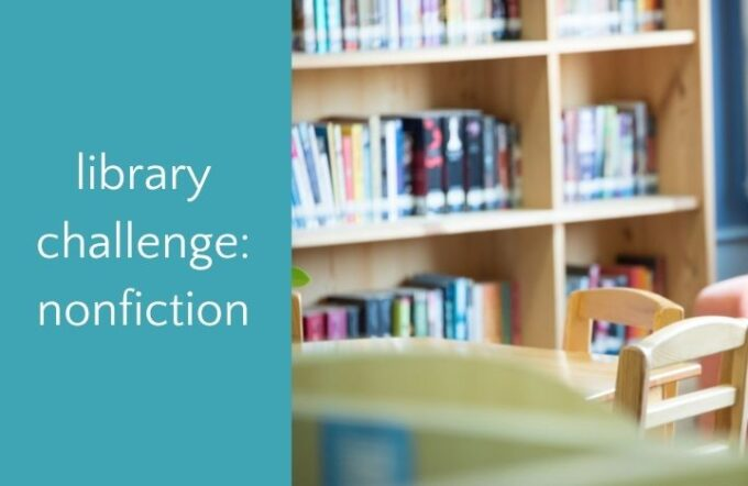 library shelves with text library challenge nonfiction