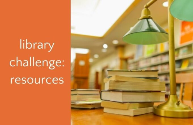 library desk and lamp with text library challenge resources