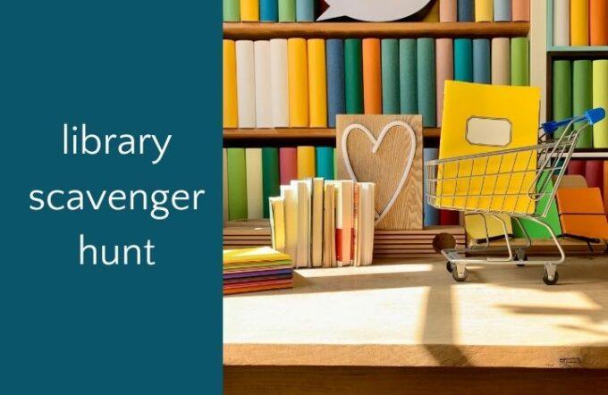 Cute library desk for library scavenger hunt