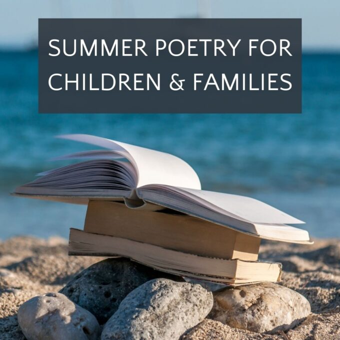 Summer poetry books on rocks at the beach