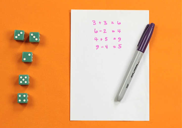 five green dice with purple sharpie pen and score sheet on orange background