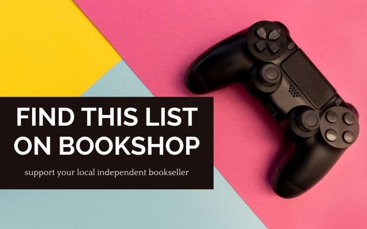 Video game controller on colorblock background with text find this list on bookshop