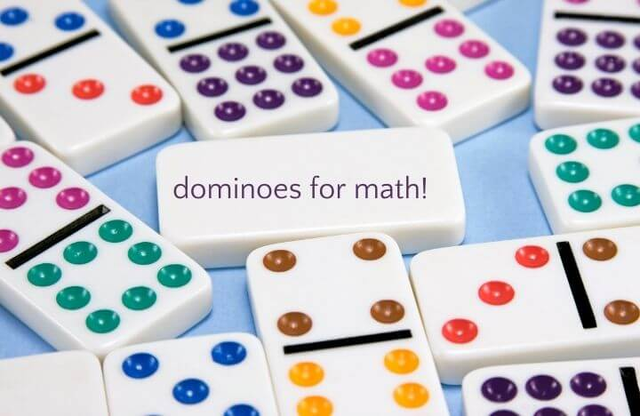 colorful dominoes on blue background