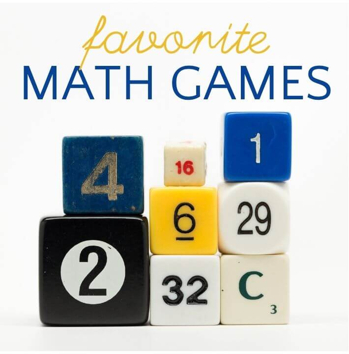 """math dice stacked up with text """"favorite math games"""""""