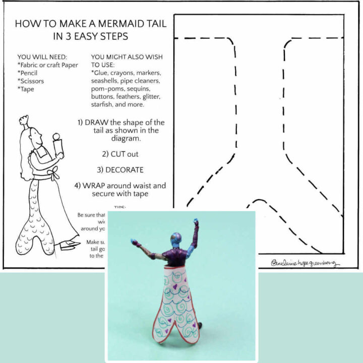 mermaid tail printable and example