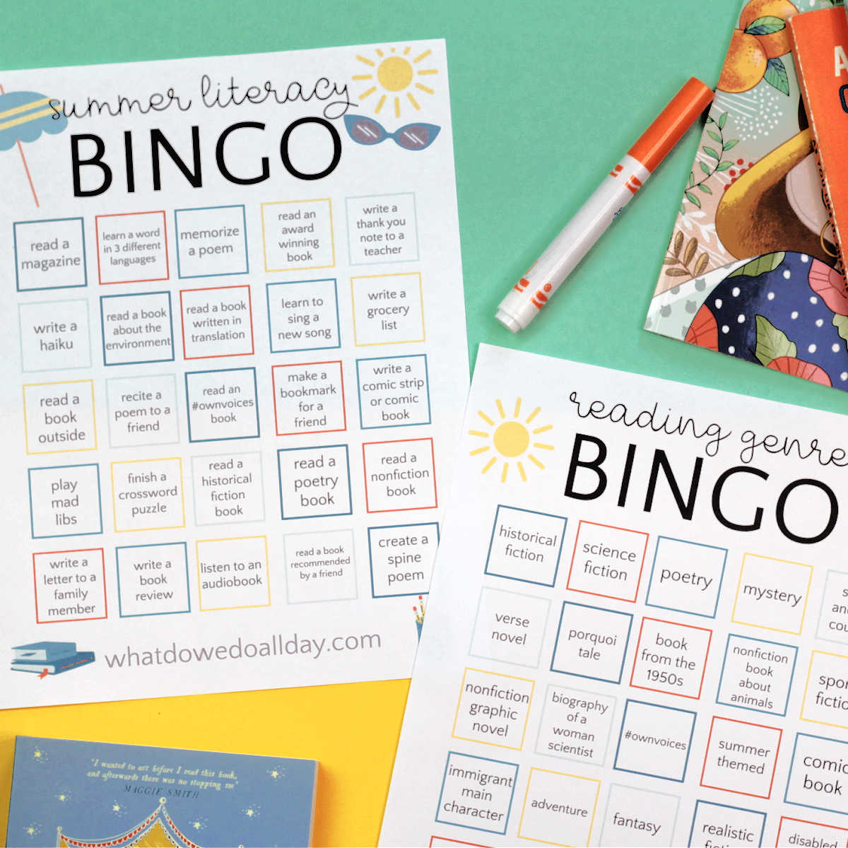 two summer reading bingo cards for kids