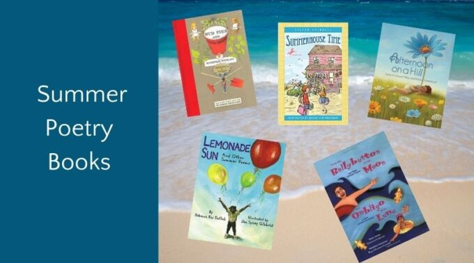 Summer poetry books for kids on ocean background