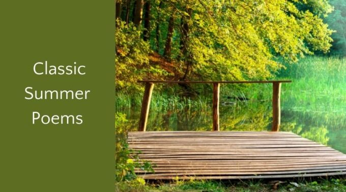 Classic summer poems and wooden dock in verdant setting