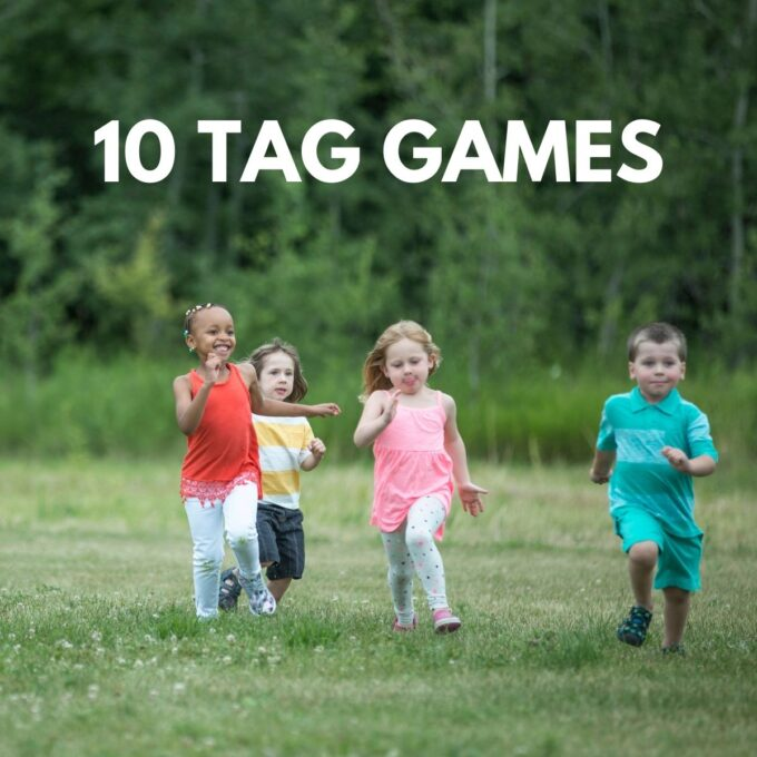 kids playing tag on the grass