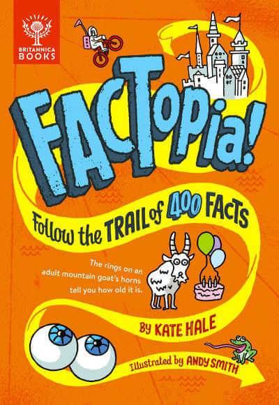 Orange book cover of Factopia with yellow swish