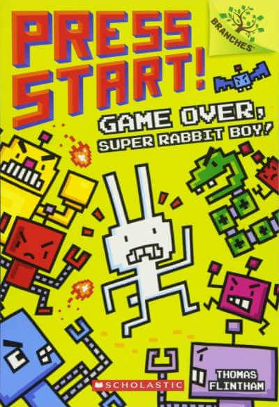 Press Start book cover showing pixelated rabbit