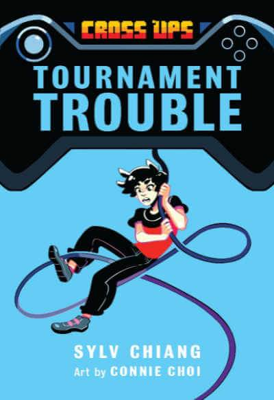 Tournament Trouble book cover showing boy swinging from video game controller