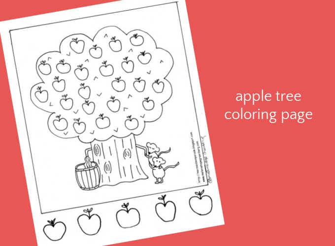 apple tree coloring page on pink background