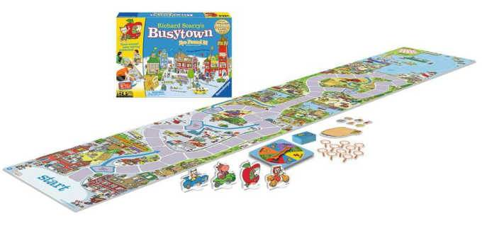 Busytown game for prechoolers box and long game board with pieces and spinner