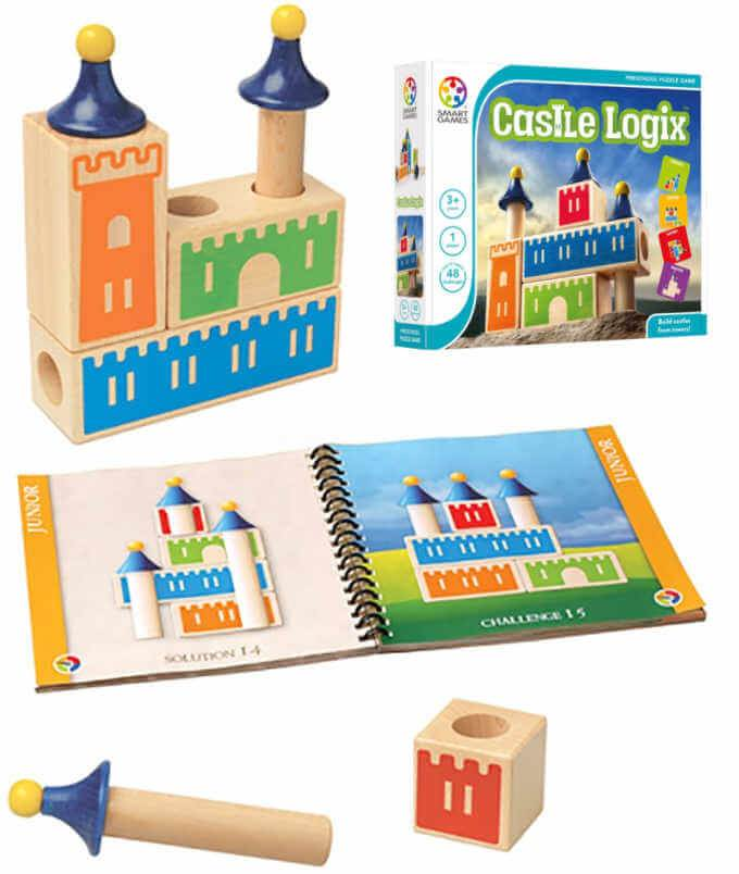 Castle Logix wooden game for preschoolers with castle block pieces, box and open booklet