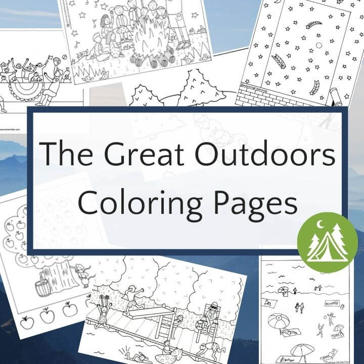 collage of outdoor coloring page on blue mountain background
