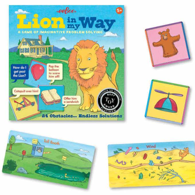 Lion in my way game with cards on white background