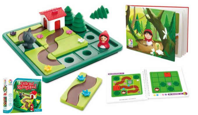 Little Red Riding Hood logic game showing plastic game board, cards, box and booklet