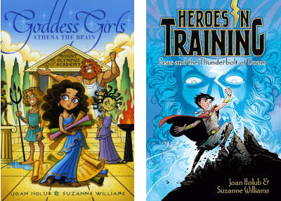 book covers for Athena the Brain and Zeus and the Thunderbolt of Doom