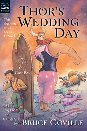 book cover for Thor's Wedding Day showing cartoon of Thor in a dress