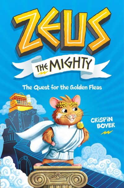 Zeus the Mighty book cover featuring hamster in toga on Mount Olympus