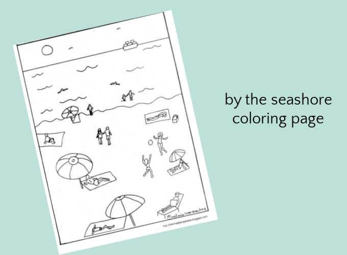 seashore coloring page on aqua background
