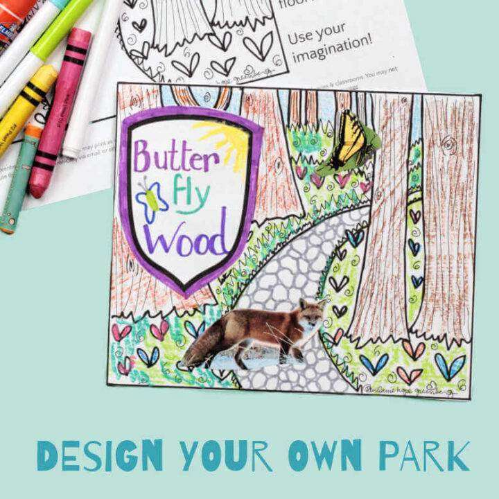 Park coloring page in color with blank page and crayons
