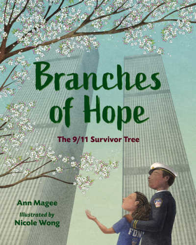 Branches of Hope book cover showing family under tree and the world trade center.