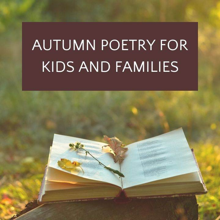 open book in autumn grass with text autumn poetry for kids and families