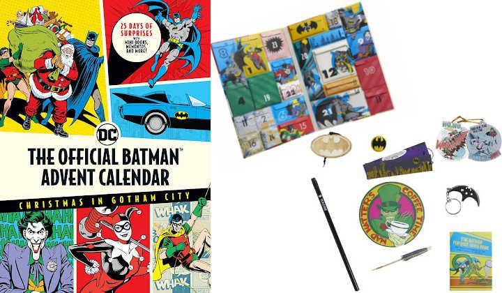 Batman advent calendar box with display of interior and trinkets