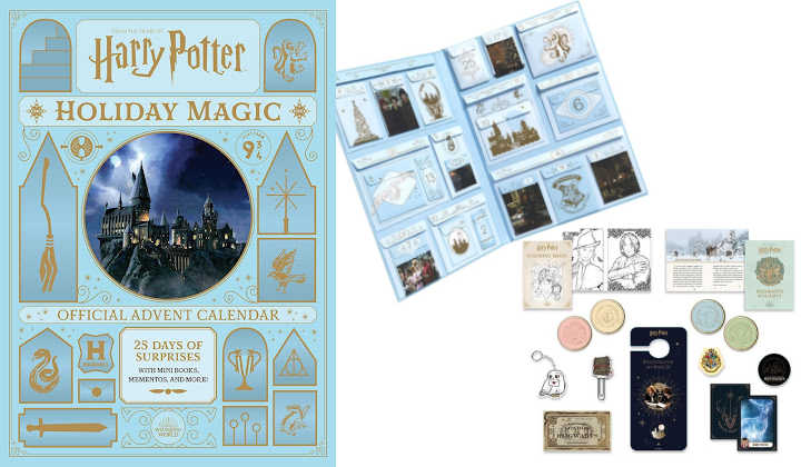 Harry Potter advent calendar box with display of interior and trinkets