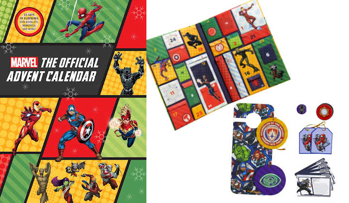 Marvel advent calendar box with display of interior and trinkets