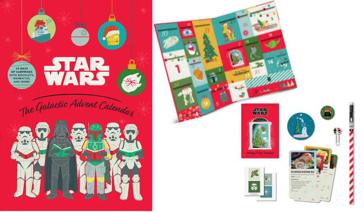 Star Wars advent calendar box with display of interior and trinkets