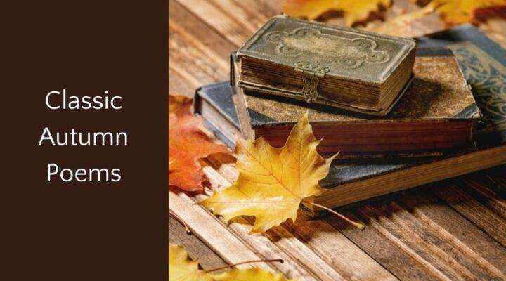 """old books in stack on wood with autumn leaves and text """"classic autumn poems"""""""