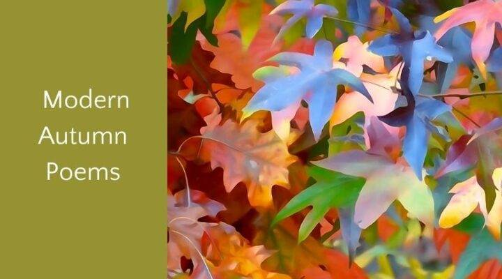"""Colorful autumn leaves and text """"modern autumn poems"""""""