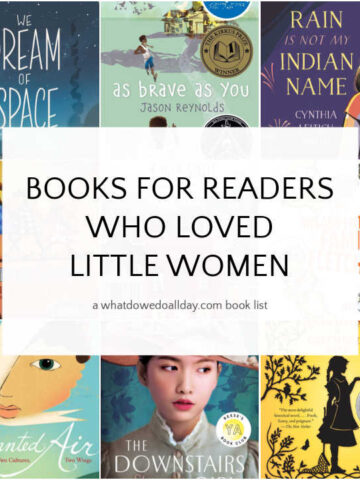 Collage of book covers of books like Little Women