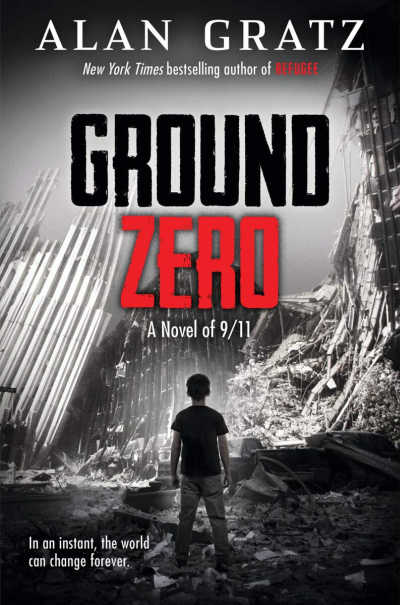 Ground Zero book cover featuring black and white image of boy standing in front of collapsed world trade center.