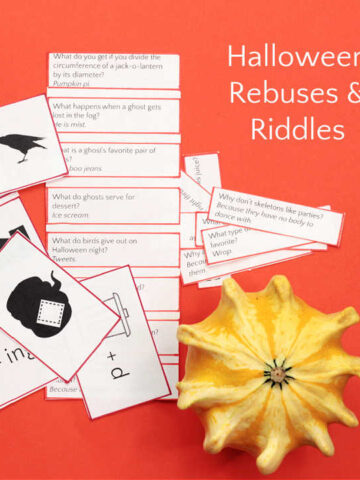 Halloween riddles on paper with gourd on orange background