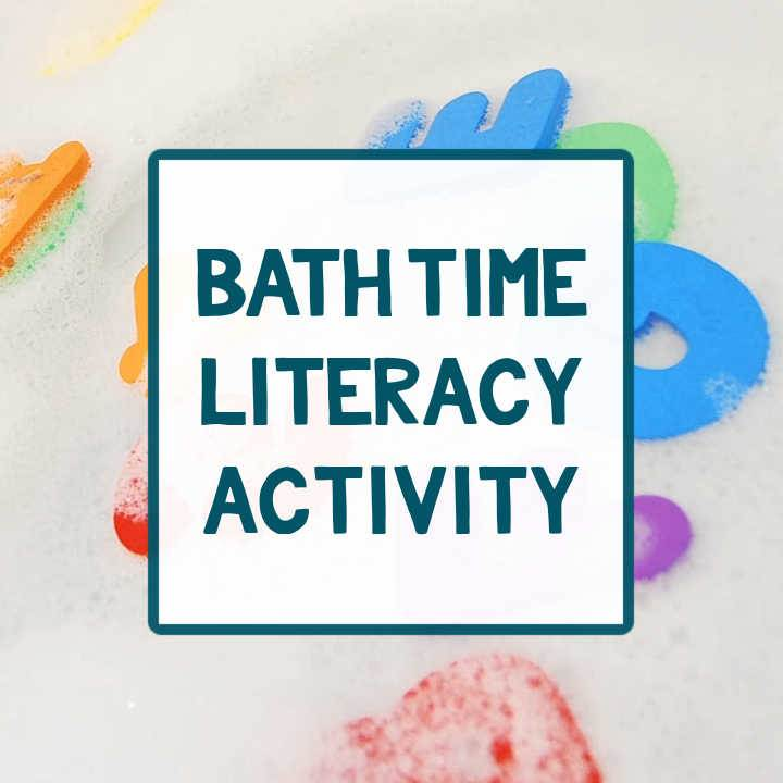 """bath numbers and letters in bubbles with text """"bath time literacy activity"""""""