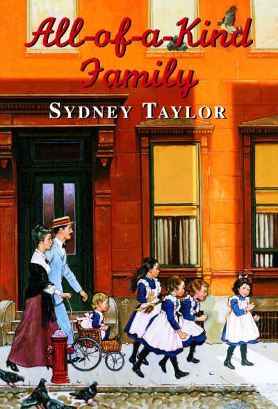 All of a Kind Family book cover featuring family walking in front of building