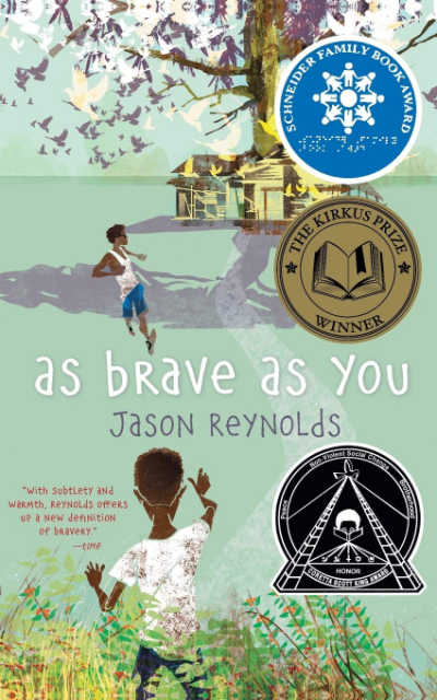 As Brave as You book cover showing boy in foreground and boy in background near tree