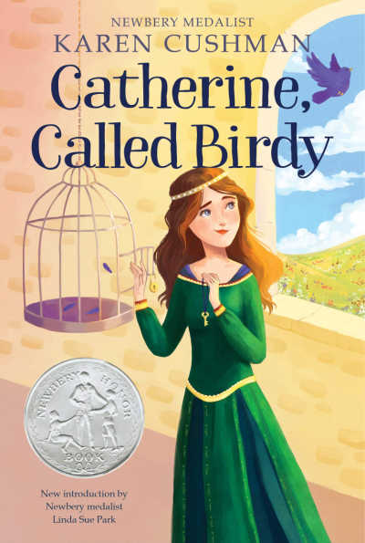 Catherine Called Birdy showing medieval girl with birdcage