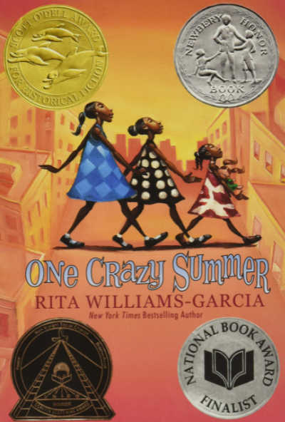 One Crazy Summer book cover featuring four medals and 3 sisters walking across the street