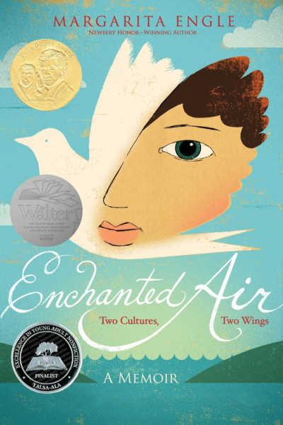 Enchanted Air book cover showing half face half bird over ocean