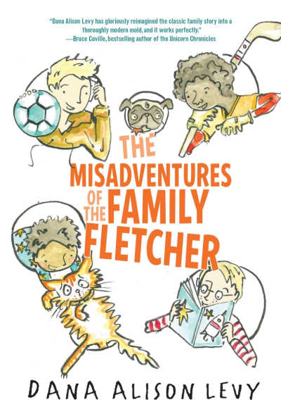 The Misadventures of the Family Fletcher book cover showing boys and dog floating