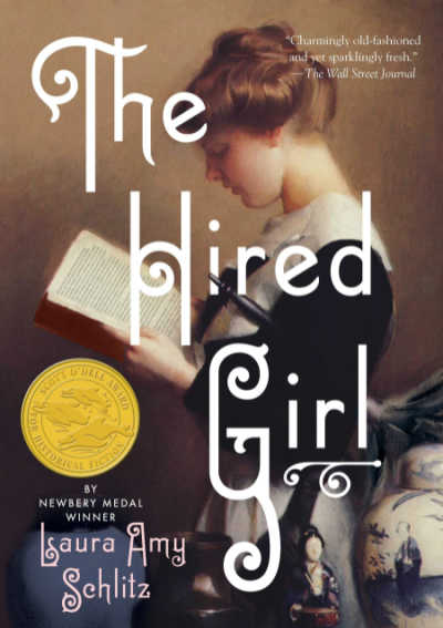 The Hired Girl book cover featuring girl reading book