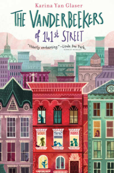 The Vanderbeekers book cover with colorful city townhouses