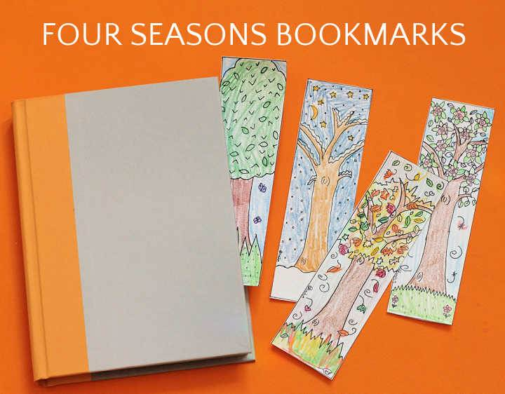 four tree bookmarks with book on orange background