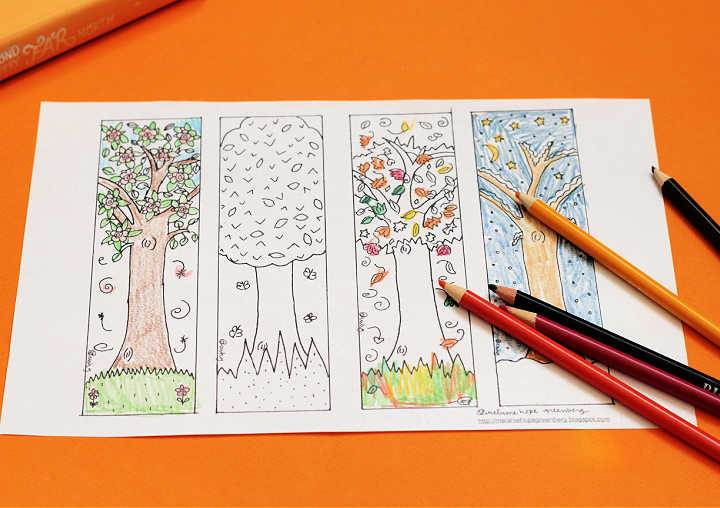 four tree bookmarks coloring page with pencils on orange paper