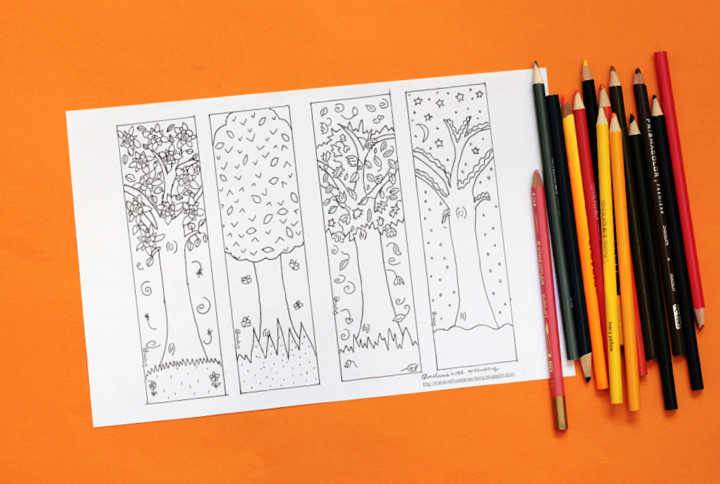 blank bookmark coloring page with colored pencils